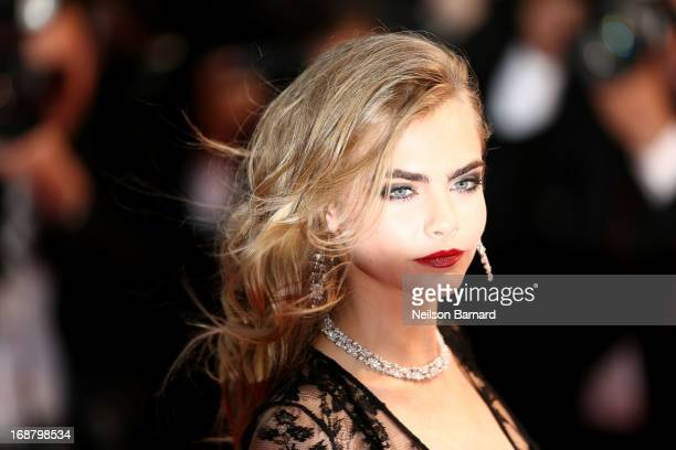 Model Cara Delevingne attends the Opening Ceremony and premiere of 'The Great Gatsby' during the 66th Annual Cannes Film Festival at Palais des...