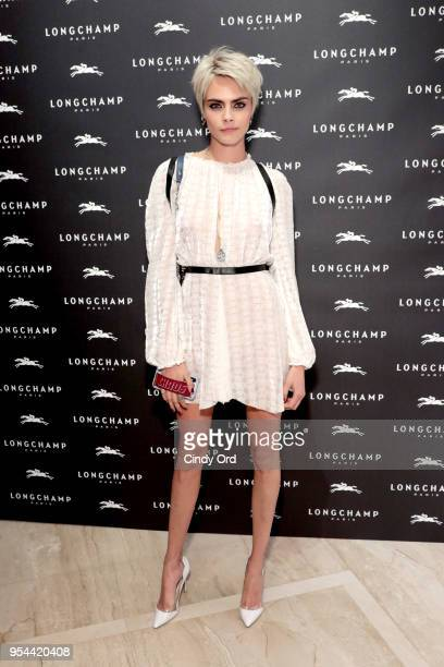 Model Cara Delevingne attends the opening of Longchamp Fifth Avenue Flagship at Longchamp on May 3 2018 in New York City