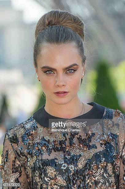 """Model Cara Delevingne attends the Paper Towns """" La Face Cachee De Margo """" Photocall In Paris on June 17, 2015 in Paris, France."""