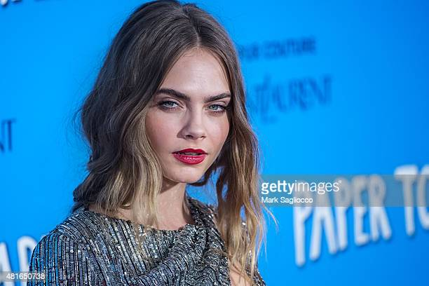 Model Cara Delevingne attends the Paper Towns New York Premiere at the AMC Loews Lincoln Square on July 21 2015 in New York City