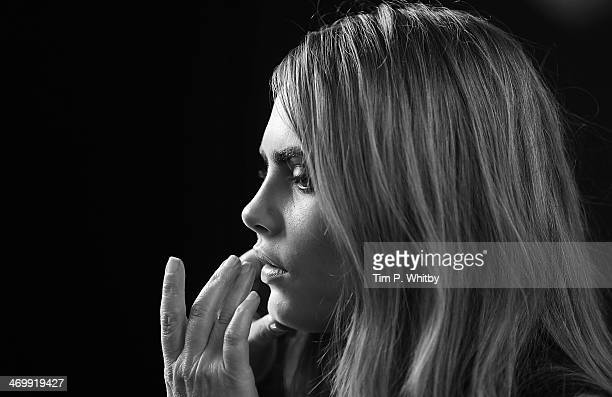 Model Cara Delevingne backstage at the Burberry Prorsum show at London Fashion Week AW14 at Kensington Gardens on February 17 2014 in London England