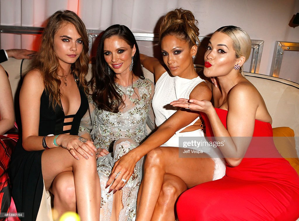 Model Cara Delevingne, designer Georgina Chapman, entertainer Jennifer Lopez and singer Rita Ora attend The Weinstein Company & Netflix's 2015 Golden Globes After Party presented by FIJI Water, Lexus, Laura Mercier and Marie Claire at The Beverly Hilton Hotel on January 11, 2015 in Beverly Hills, California.