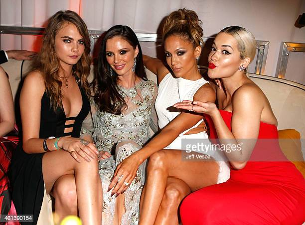 Model Cara Delevingne designer Georgina Chapman entertainer Jennifer Lopez and singer Rita Ora attend The Weinstein Company Netflix's 2015 Golden...
