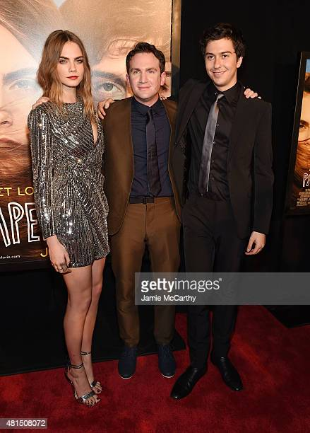 Model Cara Delevingne Director Jake Schreier and Actor Nat Wolff attend the New York premiere of Paper Towns at AMC Loews Lincoln Square on July 21...