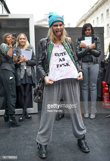 Model Cara Delevingne during London Fashion Week Fall/Winter 2013/14 at Somerset House on February 16 2013 in London England