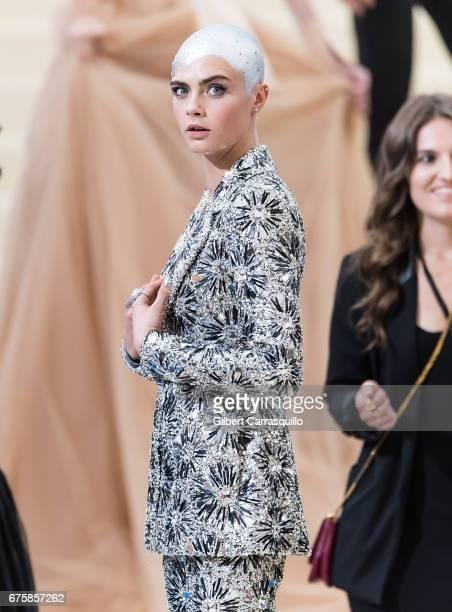 Model Cara Delevingne is seen at the 'Rei Kawakubo/Comme des Garcons Art Of The InBetween' Costume Institute Gala at Metropolitan Museum of Art on...