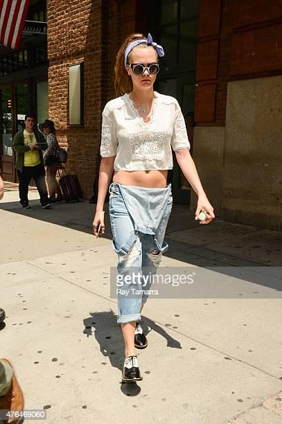 Model Cara Delevingne leaves a Tribeca hotel on June 9 2015 in New York City