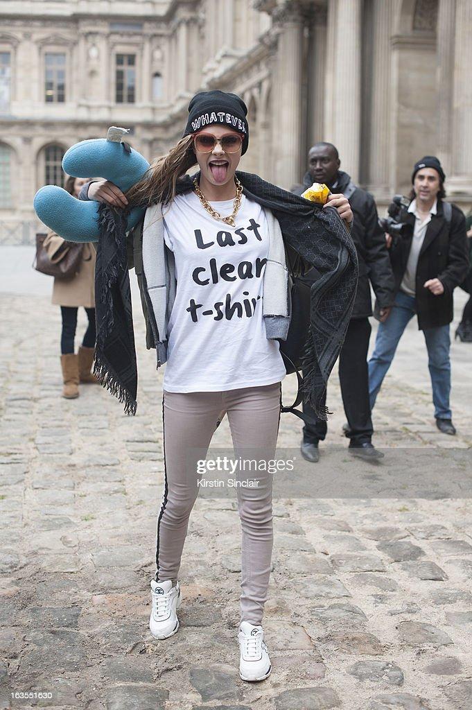 Street Style On March, 06 - Paris Fashion Week Womenswear A/W 2013 : News Photo