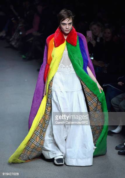 Model Cara Delevingne walks the runway at the Burberry show during London Fashion Week February 2018 at Dimco Buildings on February 17 2018 in London...
