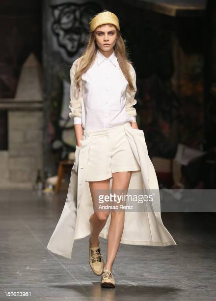 Model Cara Delevingne walks the runway at the Trussardi Spring/Summer 2013 fashion show as part of Milan Womenswear Fashion Week on September 23 2012...