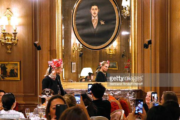 Model Cara Delevingne walks the Runway during the 'Chanel Collection des Metiers d'Art 2016/17 Paris Cosmopolite' Show at Hotel Ritz on December 6...