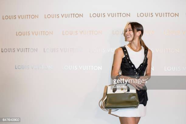 Model Cara G poses at the red carpet during the Louis Vuitton Landmark Maison opening on 02 March 2017, in Landmark Atrium, Hong Kong, China.