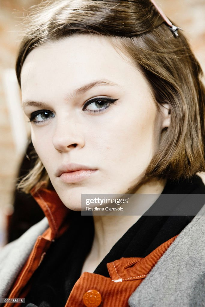 Model Cara Taylor is seen backstage ahead of the Alberta Ferretti show during Milan Fashion Week Fall/Winter 2018/19 on February 21, 2018 in Milan, Italy.