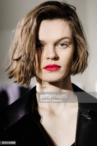 Model Cara Taylor is seen backstage ahead of the Max Mara show during Milan Fashion Week Fall/Winter 2018/19 on February 22 2018 in Milan Italy