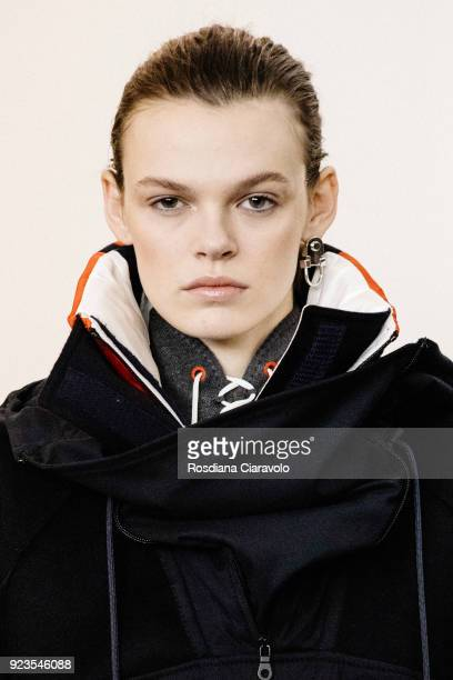 Model Cara Taylor is seen backstage ahead of the Sportmax show during Milan Fashion Week Fall/Winter 2018/19 on February 23 2018 in Milan Italy