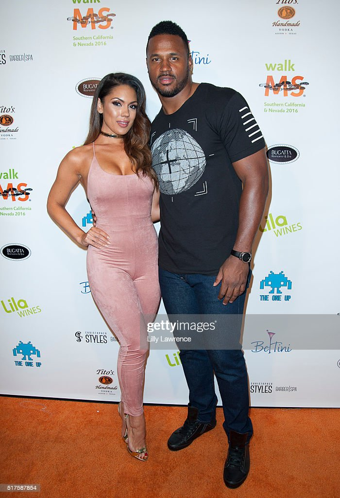 Model Carissa Rosario and Football player James Anderson attend 3rd Annual LA's Walk MS Celebrity Kickoff Event at Bugatta Supper Club on March 25, 2016 in Los Angeles, California.