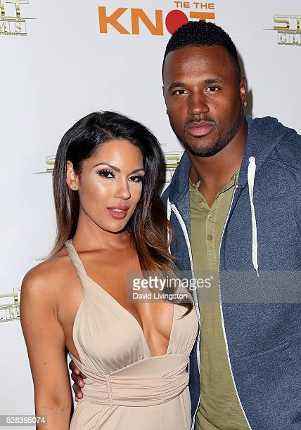 """Model Carissa Rosario and NFL player James Anderson attend the premiere of Starlight Global Films' """"Tie The Knot"""" at Pacific Theatre at The Grove on..."""