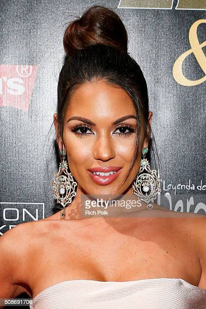 """Model Carissa Rosario arrives at the 13th annual """"Leather & Laces"""" Mega Party Super Bowl 50 at Metreon on February 5, 2016 in San Francisco,..."""