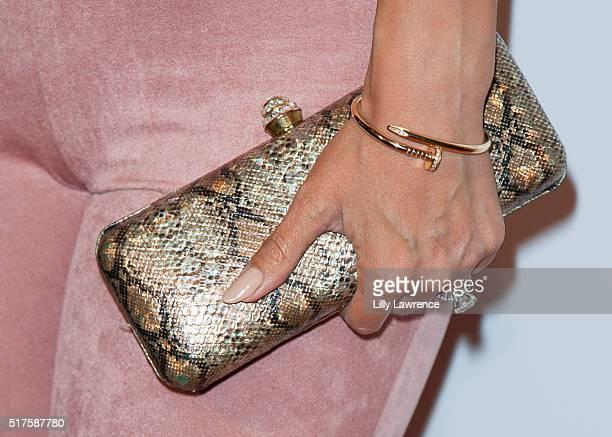 Model Carissa Rosario, jewelry detail, attends 3rd Annual LA's Walk MS Celebrity Kickoff Event at Bugatta Supper Club on March 25, 2016 in Los...