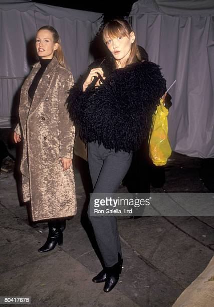 Model Carla Bruni attends 7th on Sixth Spring 1994 Fashion Week Isaac Mizrahi Fashion Show on November 4 1993 at Bryant Park in New York City New York