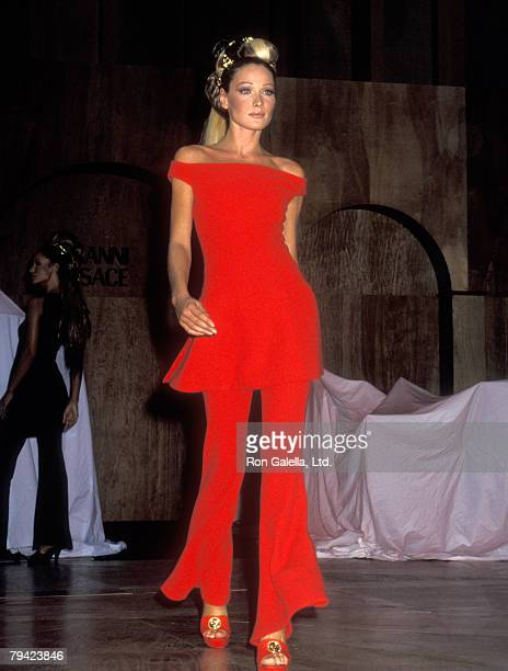 Model Carla Bruni attends Gianni Versace Hosts Rock'N Rule Fashion Show to Benefit amfAR on September 14 1992 at Park Avenue Armory in New York City...