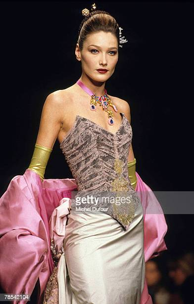 PARIS Model Carla Bruni walks the catwalk at a Christian Lacroix ready to wear show in Paris France According to reports December 18 2007 French...