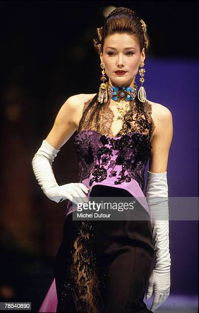 PARIS Model Carla Bruni walks the catwalk at Christian Lacroix High Fashion show in Paris France According to reports December 18 2007 French...