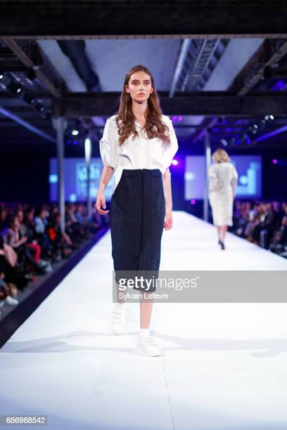 Model Carla Peclet walks the runway during the green shots fashion designers of Maisons de Mode show as part of the Lille Fashion Day 2nd edition on...