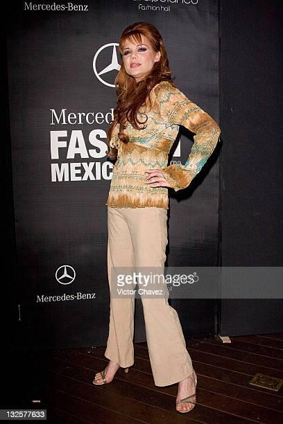 Model Carmen Campuzano attends the Mercedes Benz Fashion Mexico Autumn/Winter 2008 at Antara Polanco on April 11 2008 in Mexico City Mexico