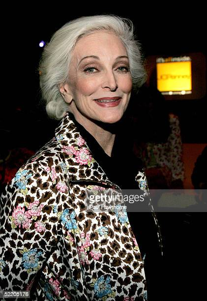 Model Carmen Dell' Orifice poses after JC Penny's launch of Nicole by Nicole Miller at The Four Seasons February 15 2005 in New York City