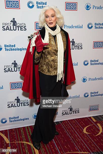 Model Carmen Dell'Orefice attends the 54th USO Armed Forces Gala and Gold Medal Dinner at The New York Marriott Marquis on December 9 2015 in New...