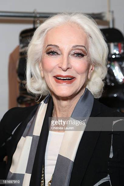 Model Carmen Dell'Orefice poses backstage at the Norisol Ferrari Spring 2013 fashion show during MercedesBenz Fashion Week at The Studio at Lincoln...