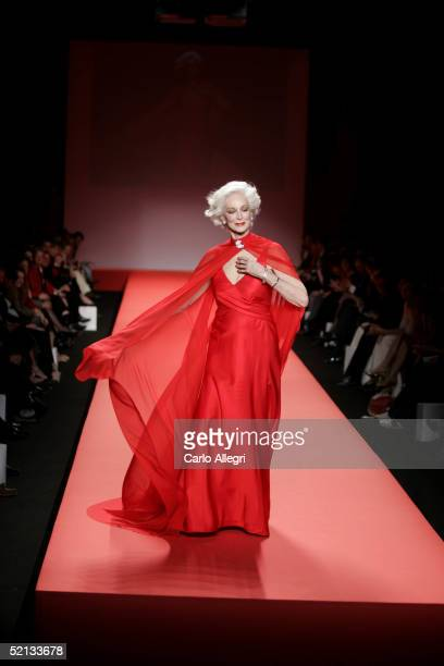 Model Carmen Dell'Orefice walks the runway at the Heart Truth Red Dress Collection during the Olympus Fashion Week at Bryant Park February 4 2005 in...