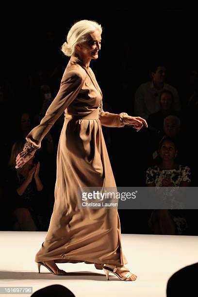 Model Carmen Dell'Orefice walks the runway at the Norisol Ferrari Spring 2013 fashion show during MercedesBenz Fashion Week at The Studio at Lincoln...