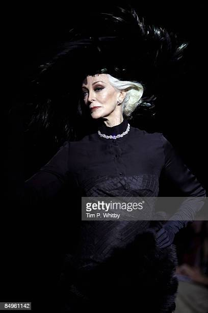 Model Carmen Dell'Orifice walks down the catwalk during QASIMI show as part of London Fashion Week a/w 2009 at St Mary's Church on February 21 2009...