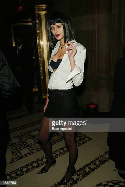 Model Carmen Kass at Dolce Gabbana's Halloween Party at Cipriani 42nd Street in New York City October 31 2002 Photo by Evan Agostini/Getty Images