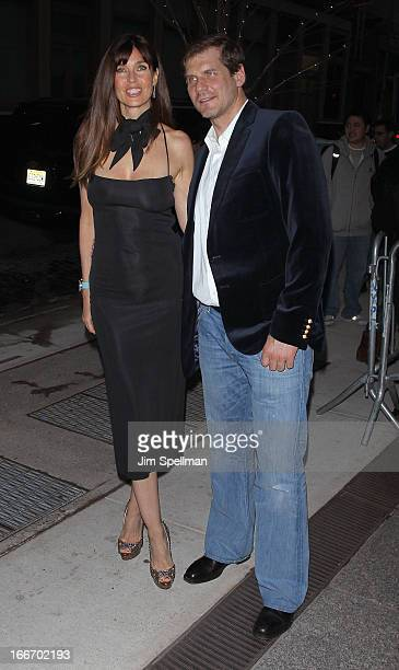 Model Carol Alt and husband Alexei Yashin attends The Cinema Society and Men's Fitness screening of Pain and Gain at Crosby Street Hotel on April 15...