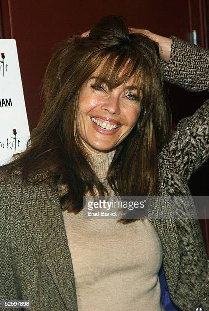 Model Carol Alt arrives to the Johnnie Walker Presents Dressed to Kilt fashion show at the Copacabana on April 6 2005 in New York