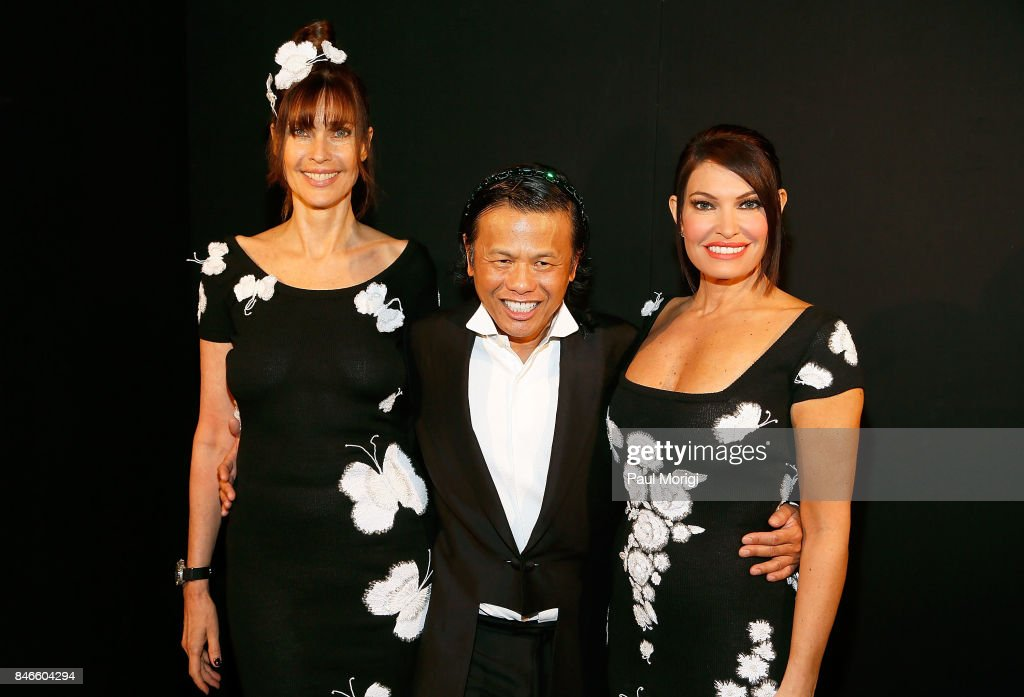 Model Carol Alt, designer Zang Toi and Kimberly Guilfoyle pose backstage at the Zang Toi fashion show during New York Fashion Week: The Shows at Gallery 3, Skylight Clarkson Sq on September 13, 2017 in New York City.