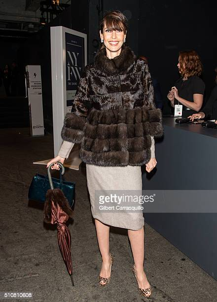 Model Carol Alt is seen outside the Dennis Basso Fall 2016 fashion show during New York Fashion Week The Shows at The Arc Skylight at Moynihan...