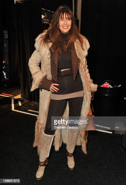 Model Carol Alt poses backstage at the Rebecca Minkoff Fall 2012 fashion show during MercedesBenz Fashion Week at The Theatre at Lincoln Center on...