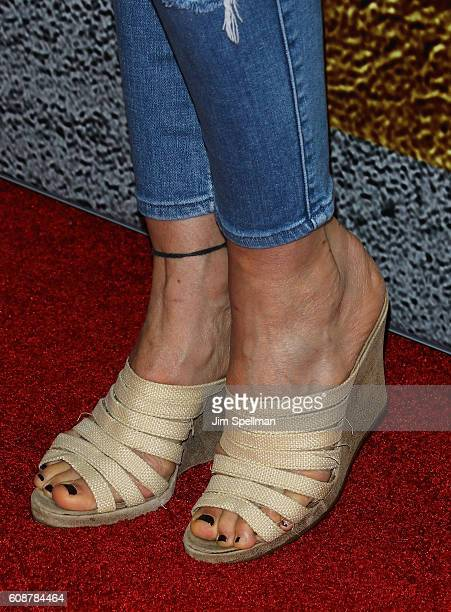Model Carol Alt shoe detail attends the 'The Magnificent Seven' New York premiere at Museum of Modern Art on September 19 2016 in New York City