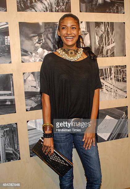 Model Carol Gracias during the preview and launch of Khadi Collection by Levis on August 26 2104 in Mumbai India