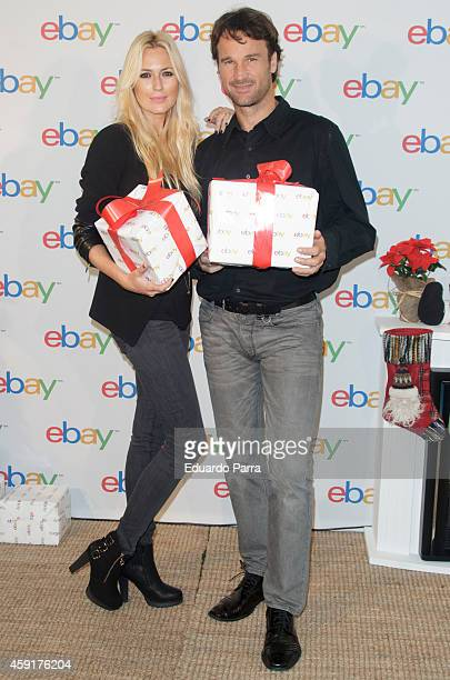 Model Carolina Cerezuela and tennis player Carlos Moya attend the 'Christmas Ebay ambassadors' campaign photocall at Casa Club Espacio Cultural on...