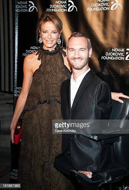 Model Carolina Parsons and Author and Motivational Speaker Nick Vujicic attends The Novak Djokovic Foundation's inaugural dinner at Capitale on...