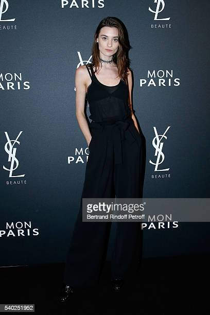 Model Carolina Thaler attends YSL Beauty launches the new Fragrance 'Mon Paris' at Cafe Le Georges on June 14 2016 in Paris France