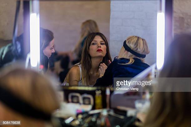 Model Caroline Brasch Nielsen is seen backstage ahead of the By Malene Birger show during the Copenhagen Fashion Week Autumn/Winter 2016 on February...