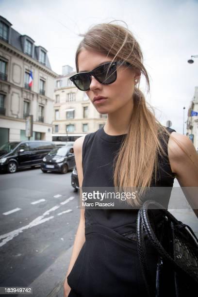 Model Caroline Brasch Nielsen is seen on 'Rue du Faubourg Saint Honore' on October 10 2013 in Paris France