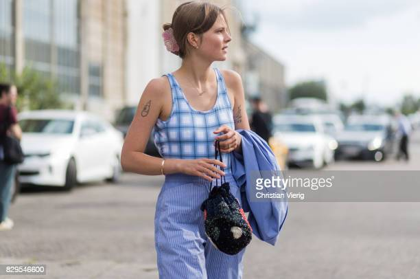 Model Caroline Brasch Nielsen outside Ganni on August 10 2017 in Copenhagen Denmark