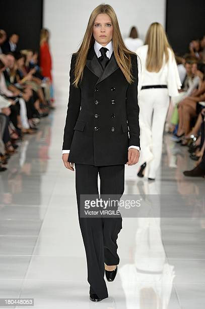 Model Caroline Brasch Nielsen walks the runway at the Ralph Lauren Ready to Wear fashion show during MercedesBenz Fashion Week Spring Summer 2014 on...